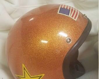 Vintage Motorcycle Helmet - Orange/Copper Sparkled - Metal Flake -