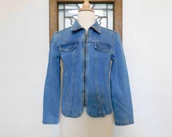 1980s Denim Jacket Vintage 80s Blue Jean Jacket - XS / S