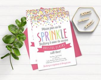 Rainbow Sprinkle Invitation - Baby Shower Invitation - Sprinkle With Love - Pink Sprinkle Invitation