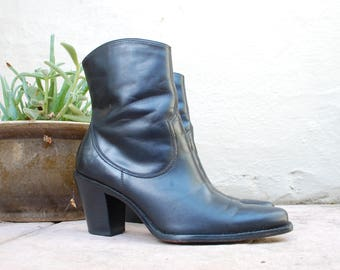 Womens 5.5 Via Spiga Black Leather Ankle Boots Boot Moto Biker Boots With Heel Heels Bootie Booties Riding Southwestern Boho Boots