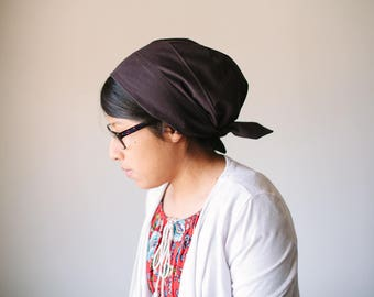 Chocolate Brown Solid Cotton Snood Headcovering | Women's Headcovering Veil