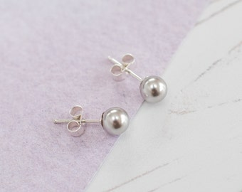 Silver Pearl Stud Earrings, Silver Bridesmaid Earrings, Silver Earrings, Silver Pearl Studs, Silver Wedding, Silver Wedding Accessories