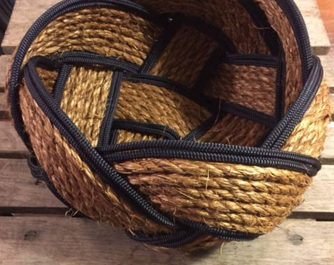 "Rope Basket Bowl 12"" x 8"" Natural and Navy Rope Woven Tightly Knotted Nautical Decor"