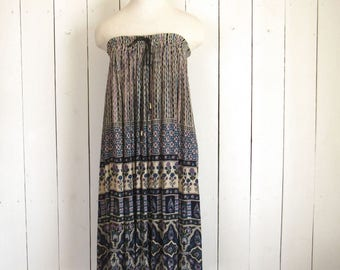 Maxi Skirt Dress - Gypsy Bell Skirt Dress - Early 90s - Blue Beige - Vintage Hippie Boho Festival Fashion - Medium M / Large L