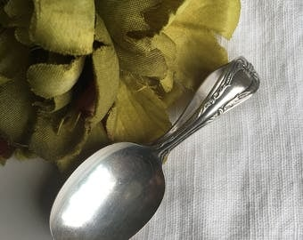 Silverplate Curved Baby Spoon Silver Plate Rogers Oneida Infant Child Feeding Vintage Flatware - #D2199