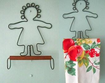 Wrought Iron Wood Tea Towel Hanger // Rustic Primitive Kitchen Bathroom Decor