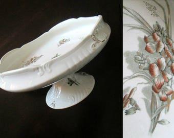 Antique China Compote John Edwards England Pedestal Dish Wallflower