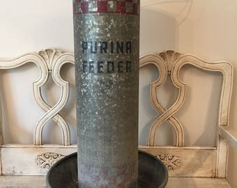 Vintage Purina Hanging Chicken Feeder - Large Galvanized Rustic Farm Chicken Feeder