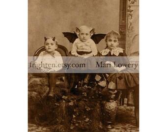 Halloween Wall Art, 8x10 inch Print, Weird Decor, Creepy Children Family Portrait, Oddities, Halloween Decor