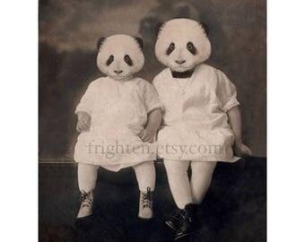 Panda Art Print, Animals in Dress Sisters Gift Nursery Decor Animal Wall Art, 5x7 or 8x10 Inch Print