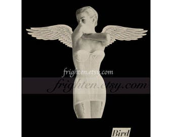 Black and White Paper Collage Print Retro Woman in Lingerie with Angel Wings 8.5 x 11 Inch Bird Art Print