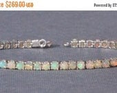 SALE GENUINE Solid Welo Opal Sterling Silver Tennis Bracelet,Genuine Opal Link Bracelet,Rainbow Opal Gemstone,October Birthstone,Sterling,OO