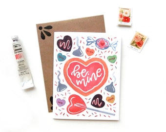 Be Mine Sweets Valentine's Day Card | Original Watercolor V Day Candy Chocolates Sweet Tooth