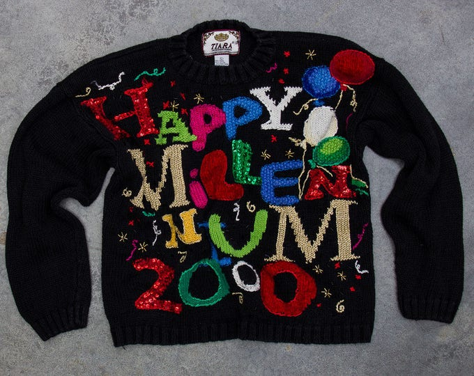 Y2K Happy Millennium Sweater | Oversized Sequin New Years Party Jumper 7CD