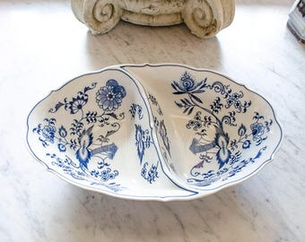 Vintage Divided Dish, Blue Danube, Blue Onion