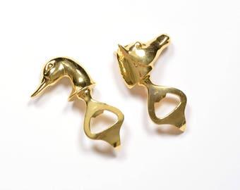 vintage 60s gold horse head duck head bottle opener Xoni Italy solid brass heavy duty 1960 barware bar Italian