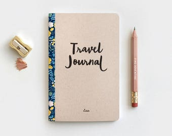 Personalized Floral Travel Journal & Pencil Set - Brown Recycled Stocking Stuffer - Midori Travelers Notebook Insert