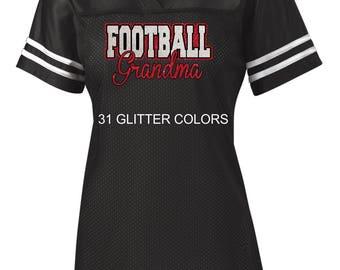 Glitter Football Grandma, Nana or Mimi Jersey
