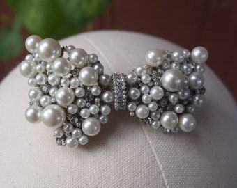 Pearly Bow Barrette, Pearl Hair Clip, Pearl Barrette