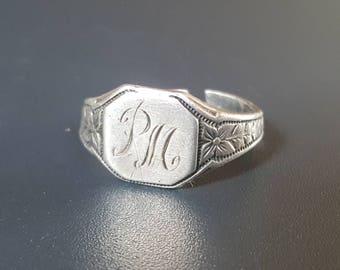 "Art Deco Signet Sterling Ring ""PM"" Monogram Orange Blossom Band Design"