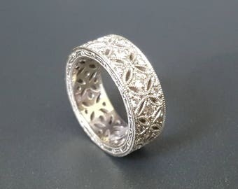 Tacori Encrusted Eternity Sterling Band Ring Size 6