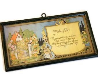 Vintage Framed Motto, Mothering Sunday, Mother's Day Gift, Small Framed Print, Cottage Chic Decor, Garden Art