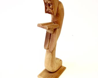 Wood Sculpted Monk Hand Carved Priest Reading Figure
