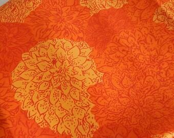 "100% Silk Twill Fabric By the Yard 42"" wide Orange Chrysanthemums"