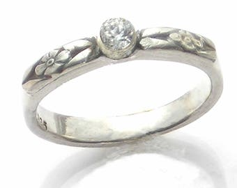 Diamond Alternative Wedding Ring, Moissonite, or Ethical Diamond, Forget Me Not Band, 14K Gold Bezel, Sterling Silver, Flowers, Metalsmith
