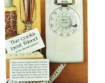 1963 Advertisement Bell Telephone Kitchen Cooku0027s Best Friend 60s Housewife  Homemaker White Wall Phone Dial System