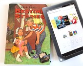 Kitschy Tablet Case Made From 1964 Book with Kids Playing Doctor, Blue Denim Lining, Fits Large Kindle and Nook.