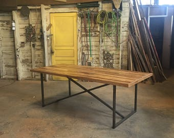 The Bruno Table-Industrial Modern Farmhouse Table with Steel Base and Reclaimed Wood top