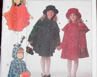 Easy Vintage Butterick Sewing Pattern 3041 Girls Tween Cape with Hood, Capelet and Hat Size 7 8 10 Chest Bust 26 27 28 Uncut Factory Folds