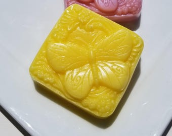 Butterfly Soap, Choose Your Scent, Yellow Butterflies Soap, Gift for Her, Homemade Bar Soap Monkey Farts Honeysuckle Sunflower Early Sunrise