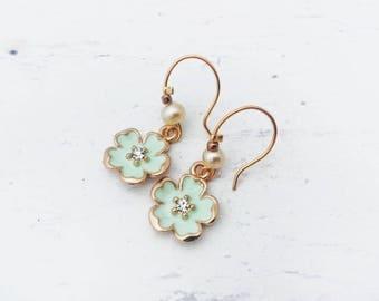 Blue Flower Earrings - Hook Earrings, Dangle Earrings