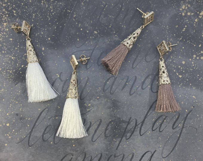 NEW! Ether earrings - dusty pink tassel dangle star earrings - gold plated 18k celestial crystal earrings