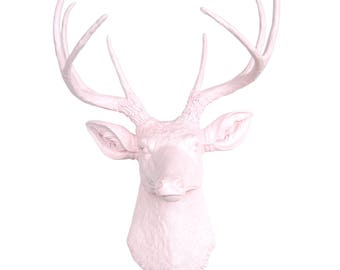 Light Pink Deer Head Decor - Light Pink  - Deer Head Antlers Faux Taxidermy Wall Mount D0606