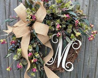 Door Wreath, Monogram Wreath, Fall, Spring, Summer Wreath for All Year Round, Everyday Wreath, Natural Wild Front Door,  Burlap Wreath