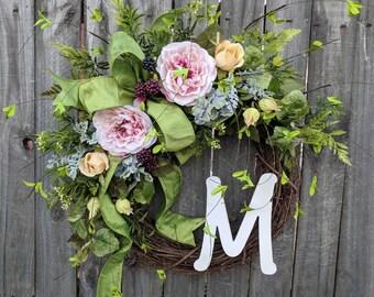 Door Wreath, Spring Blackberry Rose Wreath, Monogram Spring Front Door Wreath, Wreath for Spring, Summer, Letter Wreath, Wreath with Letter