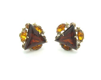 Rhinestone Triangle Earrings. Smoky Topaz. Fleur de Lis. Brown, Amber Clusters. Signed Beau Jewels. Vintage 1950s Mid Century Jewelry.
