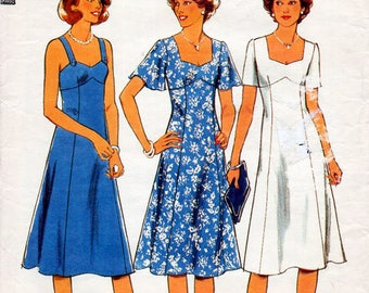 1970s Sweetheart Dress Pattern Style 1952 Vintage Sewing Pattern Knee Length Princess Seam Flared Summer Sundress Plus Size Bust 40 or 42