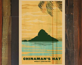 Chinaman's Hat - Mokolii - 12x18 Retro Hawaii Travel Print