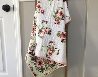 Rustic Floral Plus Quilt / Plus Sign Quilt / Baby Girl Quilt, Modern Quilt, Minky Quilt, Minky Blanket, Baby Girl Gift, Baby Blanket