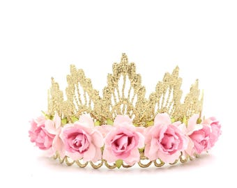NEW gold lace TIARA with 2 tone pink roses || Flower girl or Bridesmaid crown|| Sienna