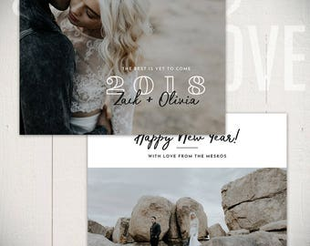 New Years Card Template: Cheers D - 5x7 New Year Card Template for Photographers