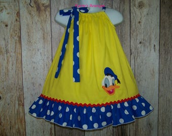 Donald Duck Pillowcase Dress / Yellow + Blue Dots / Disney Vacation / Character / Infant / Baby / Girl / Toddler / Custom Boutique Clothing