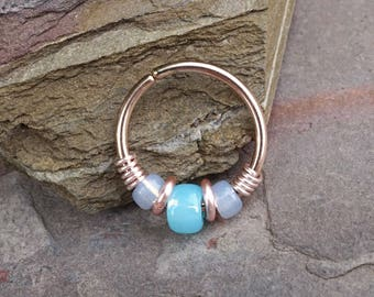 Light Blue Beaded Rose Gold Beaded Nose Hoop Nose Ring Cartilage Hoop Tragus Hoop