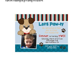 Dog Pawty Invitation with or without photo 4x6 or 5x7 digital you print your own- Design 53