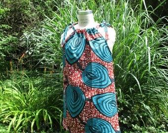 African Print Dress, Wax Print Dress, Shoulder Tie Dress, Summer Dress