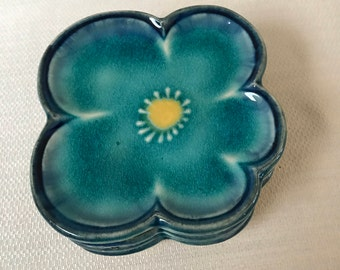 Set of 6 Blue Floral  Appetizer Sushi Plates Art Pottery Hand Painted